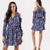 BLUE DITSY PRINT FRILL COLD SHOULDER  DRESS BNWT SIZES UK 8, 10, 12, 14